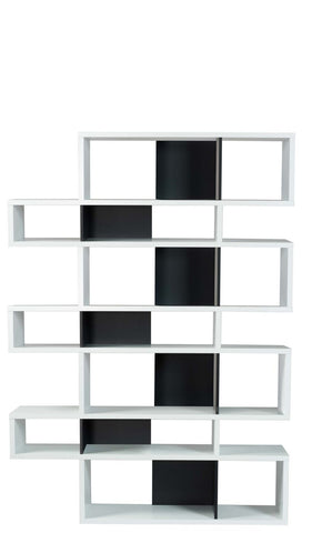 London Composition 2010-003 Pure White Frame Black Backs Bookcase