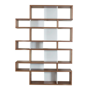 London Composition 2010-003 Walnut Frame Pure White Backs Bookcase