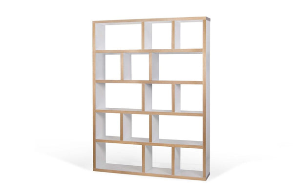 Berlin 5 Levels 150 Cm Pure White / Plywood Bookcase