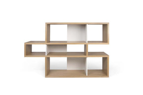 London Composition 2010-001 Oak Frame Pure White Backs Bookcase