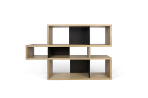 London Composition 2010-001 Oak Frame Pure Black Backs Bookcase