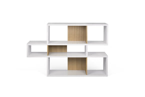 London Composition 2010-001 Pure White Frame Oak Backs Bookcase