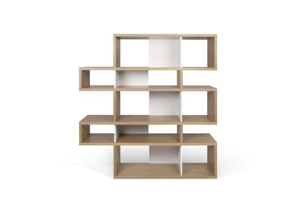London Composition 2010-002 Oak Frame Pure White Backs Bookcase