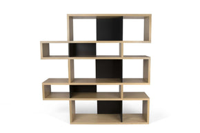 London Composition 2010-002 Oak Frame Pure Black Backs Bookcase