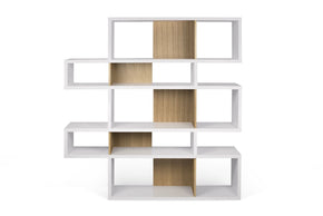 London Composition 2010-002 Pure White Frame Oak Backs Bookcase