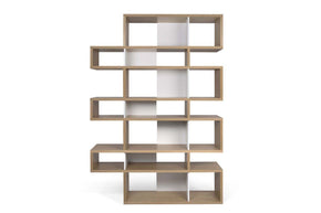 London Composition 2010-003 Oak Frame Pure White Backs Bookcase
