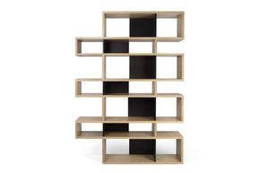 London Composition 2010-003 Oak Frame Pure Black Backs Bookcase