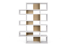 London Composition 2010-003 Pure White Frame Oak Backs Bookcase