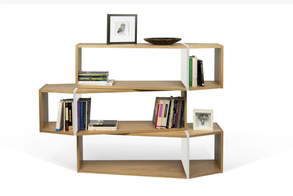 One Module Composition 2014-001 Oak / Pure White Bookcase