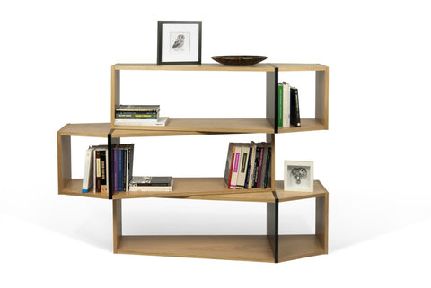 One Module Composition 2014-001 Oak / Pure Black Bookcase
