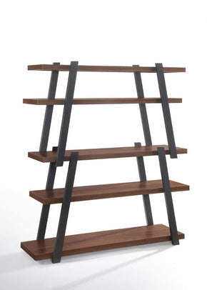 Modrest Tobias Modern Walnut & Grey Bookshelf Bookcase