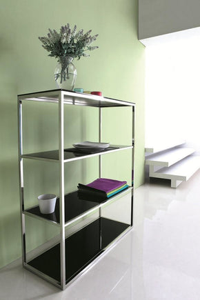 Calypso Bookshelf/divider With Stainless Steel Body And Black Tempered Glass Shelves Bookcase
