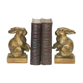 Pair Of Baby Rabbit Bookends Gold Bookend