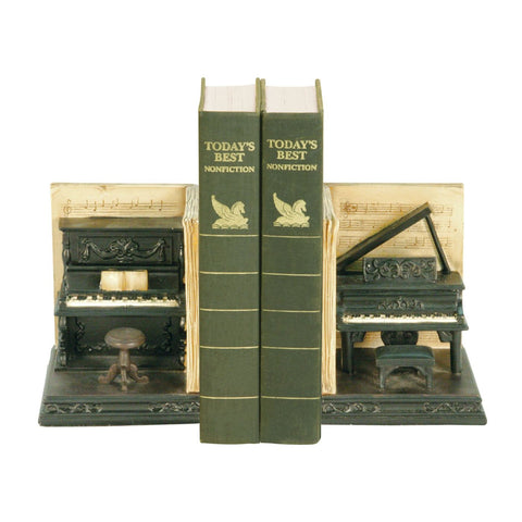 Pair Dueling Piano Bookends Antique Black & Natural Tone Bookend