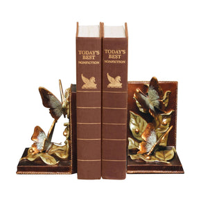 Pair Of Butterflies Foraging Green,red & Blue Bookend