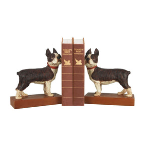 Pair Boston Terrier Bookends Black,white & Bronze Bookend