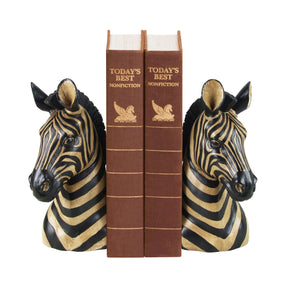Pair Of Zebra Bookends Black & Cream Bookend