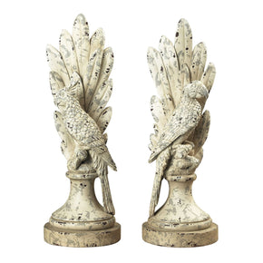 Pair Of Distressed White Parrots Bookend