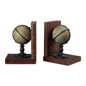 Atlas Book Ends Green & Brown Bookend