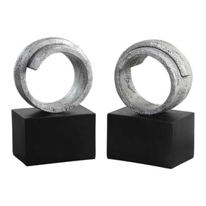 Twist Modern Silver Bookends S/2 Bookend