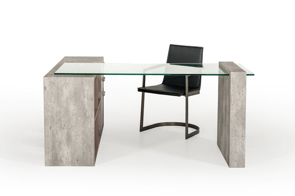 Nova Domus Boston Modern Walnut, Glass & Faux Concrete Office Desk