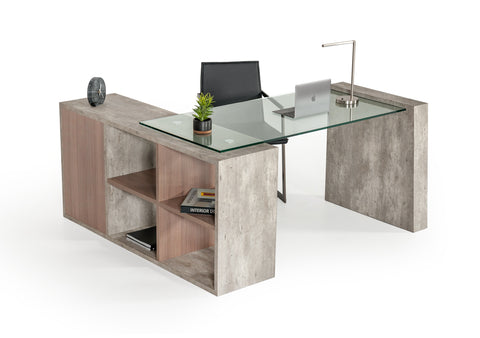 Vig Furniture VGANBOSTON Nova Domus Boston Modern Glass & Concrete Desk
