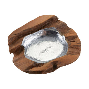 Round Teak Bowl With Aluminum Insert - Medium Natural Teak,aluminum