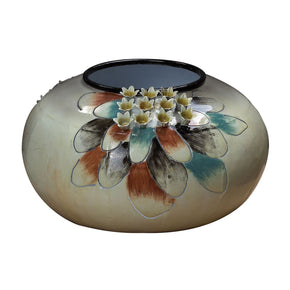 Metal Flower Bowl - White