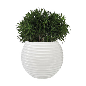 Jaya Bamboo Tuft Planter Gloss White Bowl
