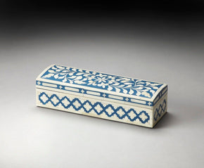 Amanda Traditional Rectangular Bone Inlay Storage Box Blue