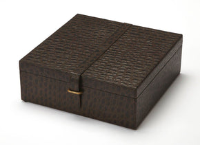Ambra Modern Square Storage Box Dark Brown