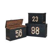 Antique Tin Boxes In Signature Black With White Graphics - Set Of 3 Black,white Box