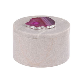 Antilles Round Box In White Marble And Pink Agate White,pink