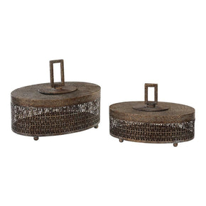 Agnese Antiqued Gold Boxes Set Of 2 Box