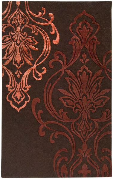 Modern Classics Medallion And Damasks Area Rug Brown Red