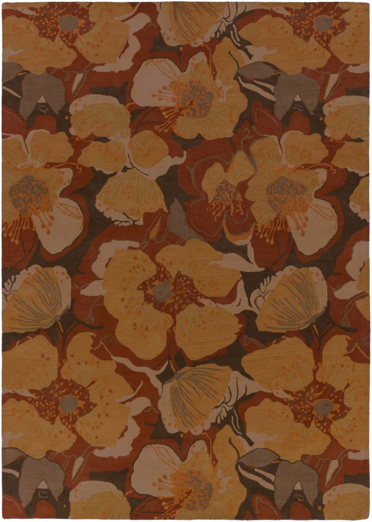 Athena Floral And Paisley Area Rug Orange Brown