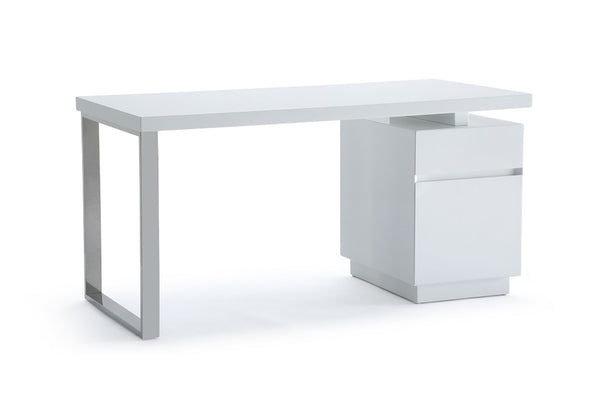 Vig Furniture VGVCBT-002-WHT Modrest Carson Modern White & Stainless Steel Desk