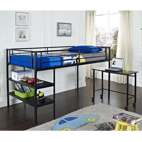 Twin Low Loft Bed With Desk - Black Bunk