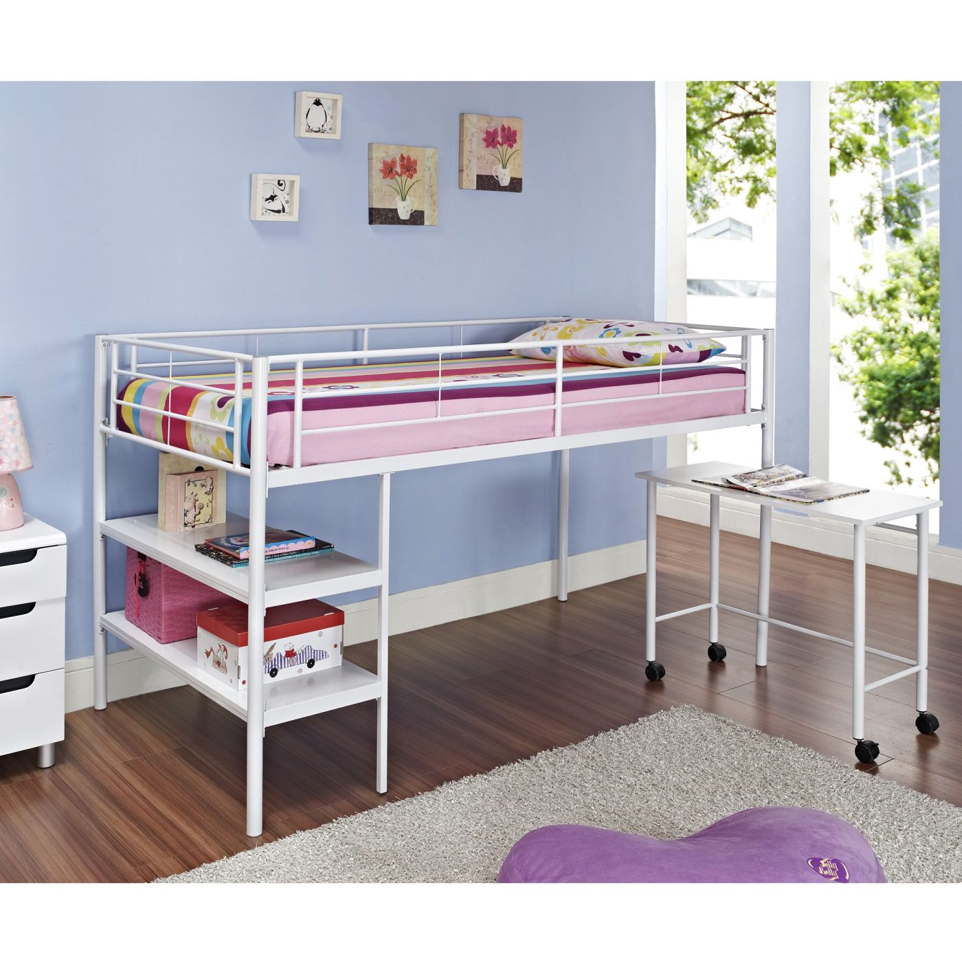 Picture of: Buy Walker Edison Btld46spwh Twin Low Loft Bed With Desk White At Contemporary Furniture Warehouse