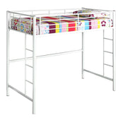 Twin Metal Loft Bed - White Bunk