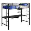 Twin Metal Loft Bed with Workstation- Black