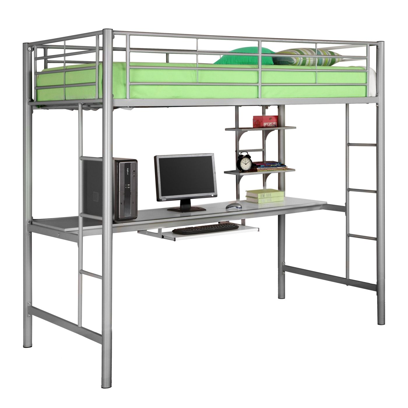 Twin Metal Loft Bed With Workstation  Silver Bunk