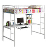 Twin Metal Loft Bed with Workstation- White