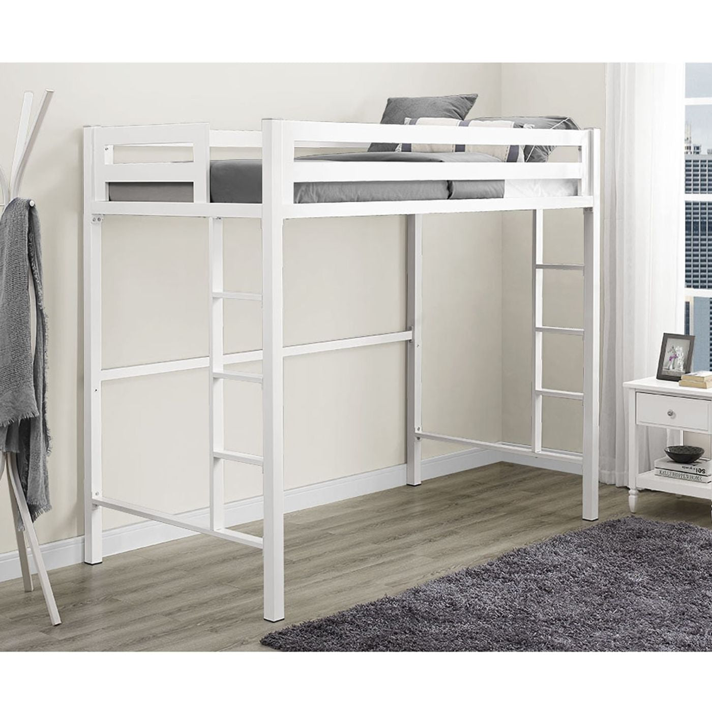 Picture of: Buy Walker Edison Btsqtolwh Bentley Twin Metal Loft Bed White At Contemporary Furniture Warehouse