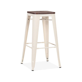 DesignLab MN LS-9100-CREW Dreux Glossy Cream Elm Wood Steel Stackable Barstool 30 Inch (Set of 4) 655222619815