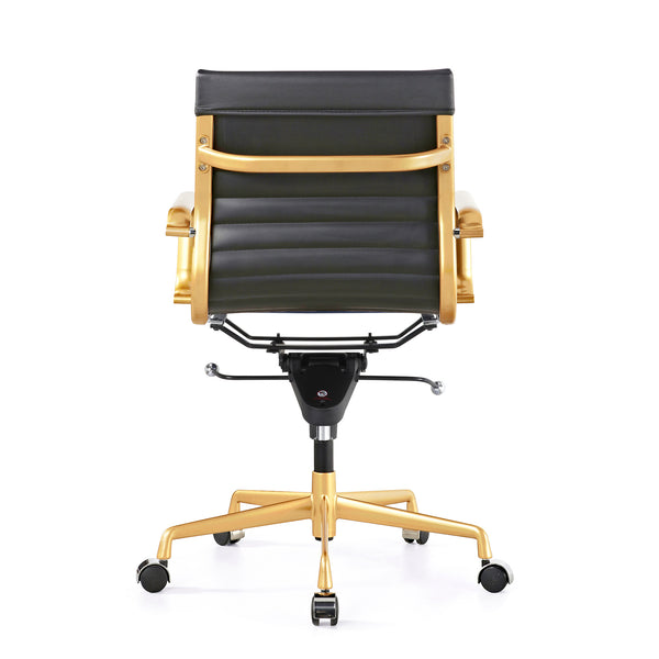 Decade Black + Gold Modern Classic Aluminum Office Chair (Set of 2)