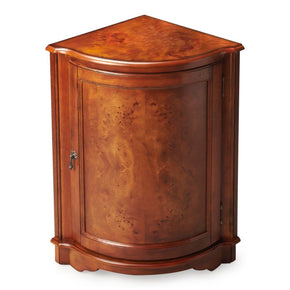 Durham Traditional Quarter Round Corner Cabinet Medium Brown
