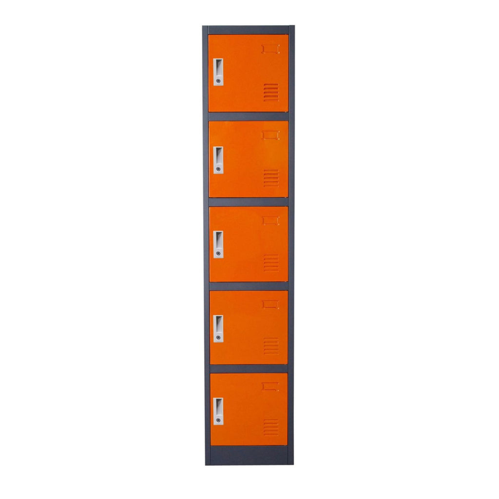 5 Door Metal Storage Locker Cabinet With Key Lock Entry ...