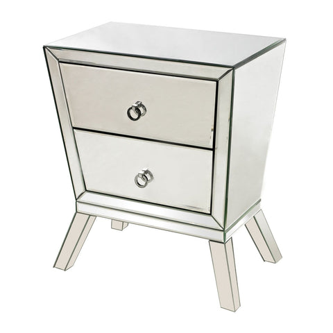 Mirrored Side Cabinet With 2 Drawers Clear