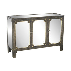 Jules Mirrored Cabinet Black Stain,gold Accents,clear Mirror
